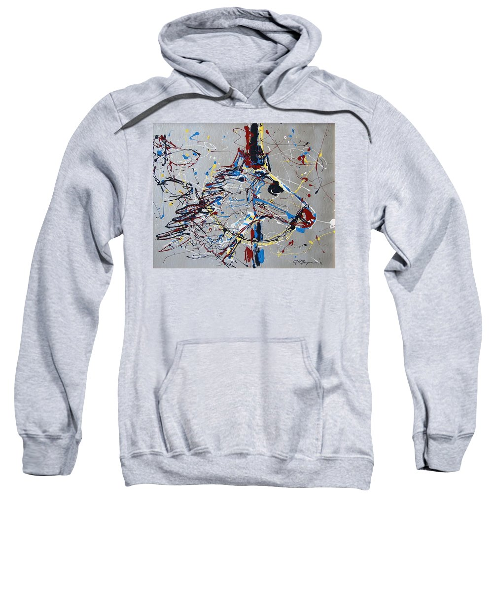 Carousel Horse Sweatshirt featuring the mixed media Carousel Horse by J R Seymour