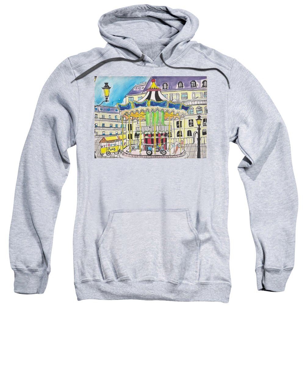 Amusement Sweatshirt featuring the drawing Carousel Paris Illustration Hand Drawn by Dragana Gajic