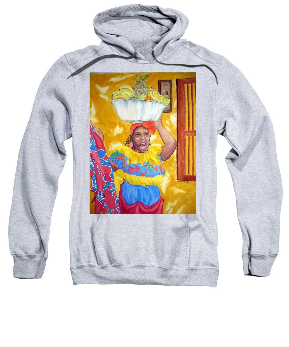 Cartagena Sweatshirt featuring the painting Cartagena Peddler II by Julia Rietz