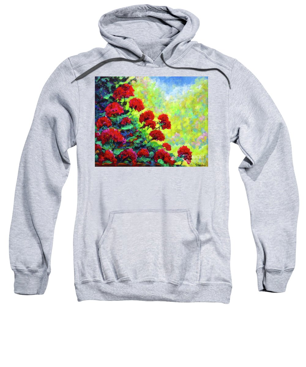Art Original Sweatshirt featuring the painting Cascade Of Geraniums by Richard T Pranke