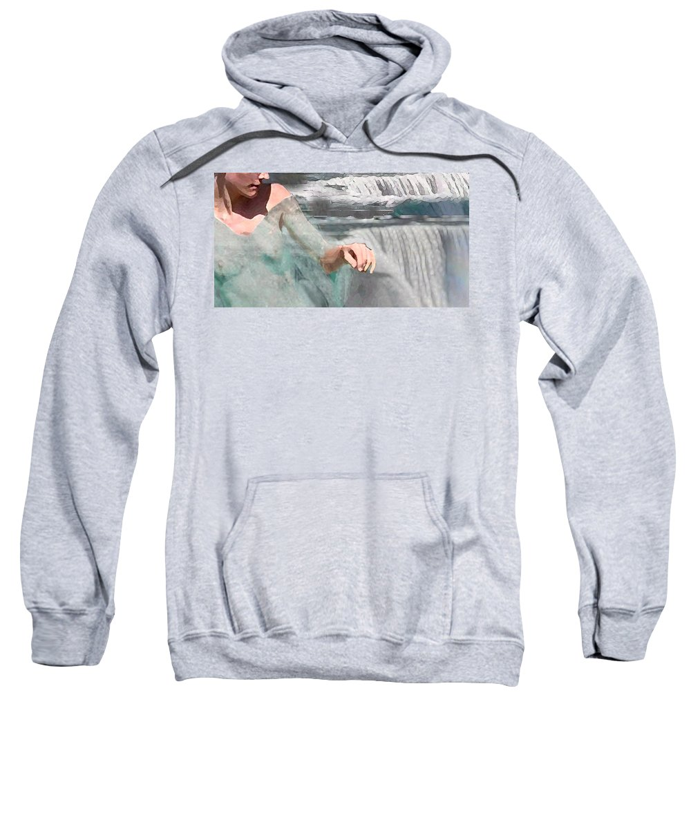 Waterscape Sweatshirt featuring the digital art Cascade by Steve Karol