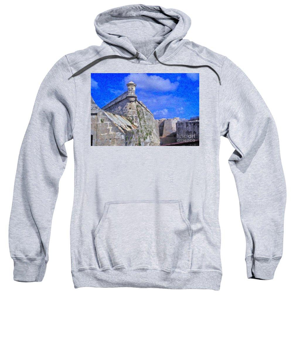 Castillo El Morro- Havana Sweatshirt featuring the photograph Castillo El Morro Havana Cuba by David Zanzinger