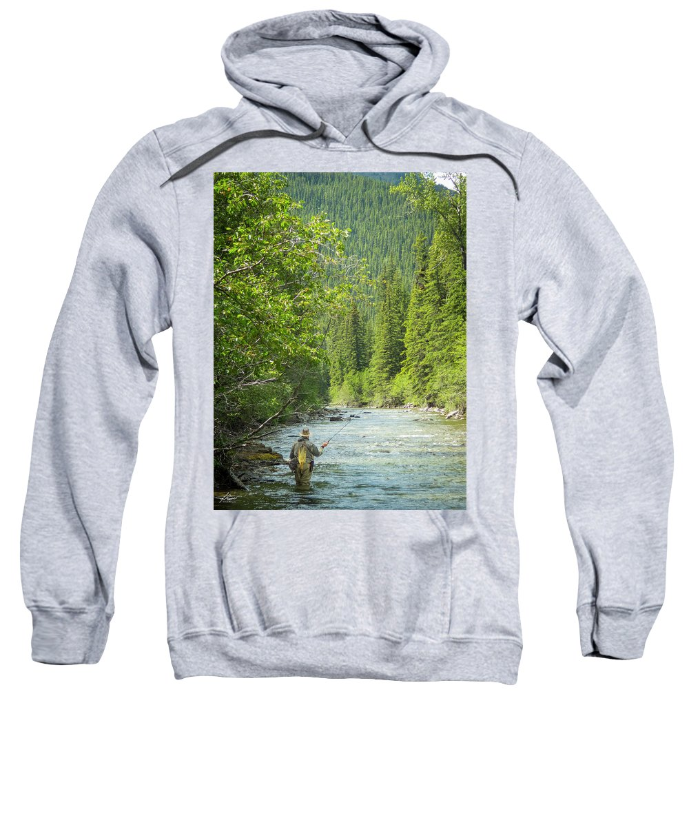Fisherman Sweatshirt featuring the photograph Casting To Cutthroats On The Oldman River by Philip Rispin