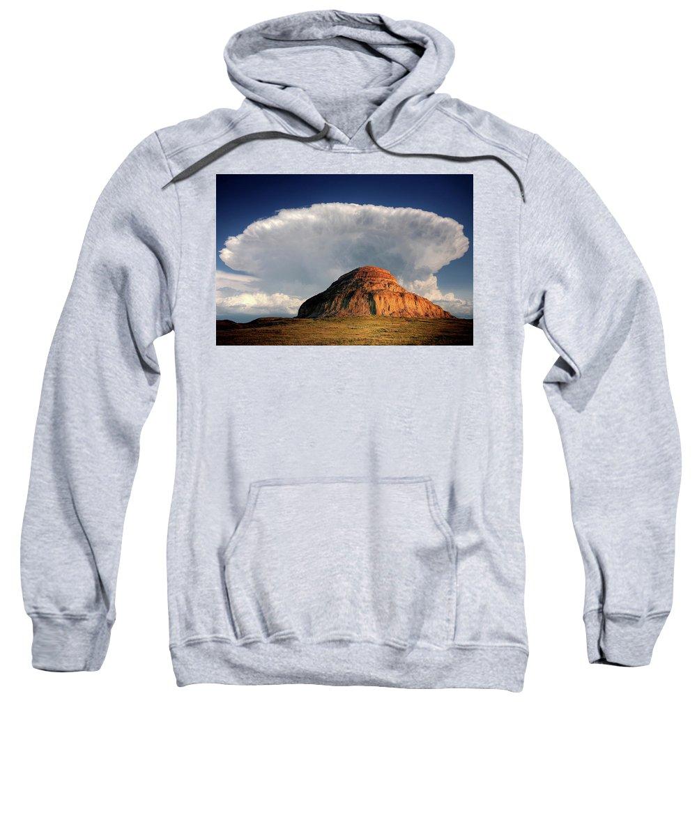 Cumulonimbus Sweatshirt featuring the digital art Castle Butte In Big Muddy Valley Of Saskatchewan by Mark Duffy