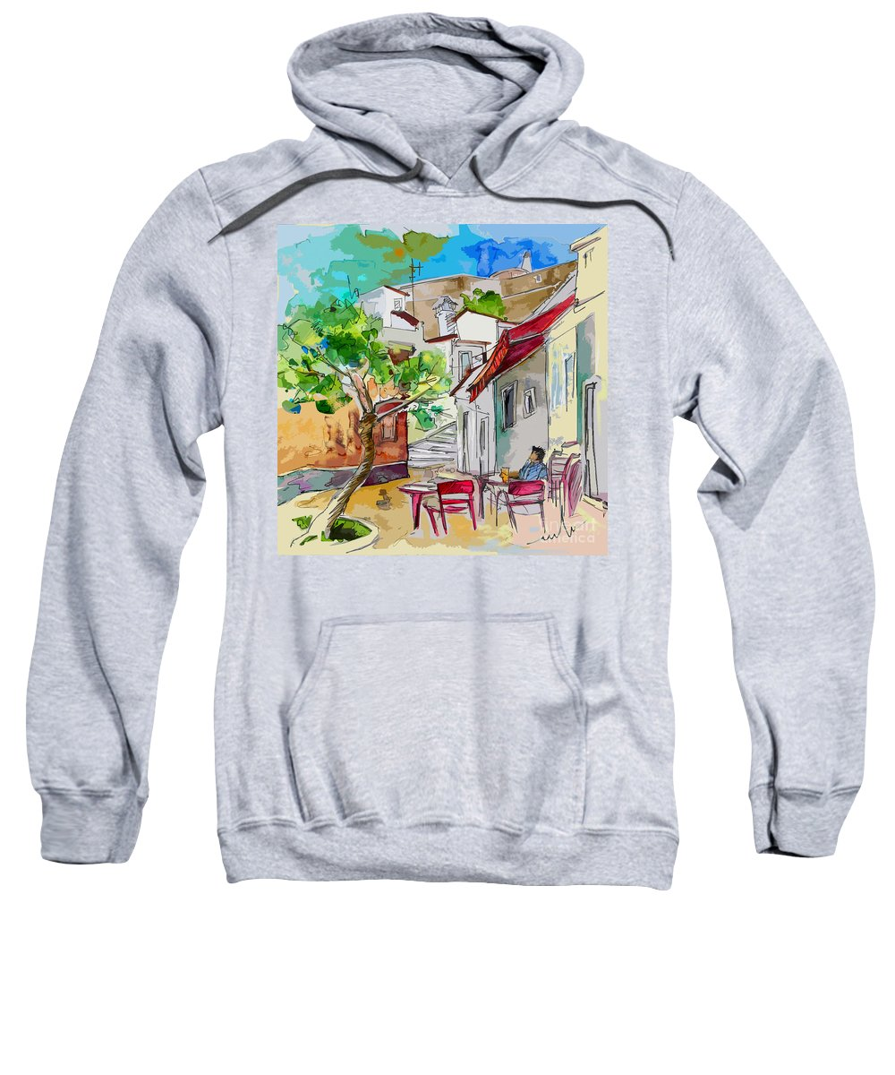 Castro Marim Portugal Algarve Painting Travel Sketch Sweatshirt featuring the painting Castro Marim Portugal 01 Bis by Miki De Goodaboom