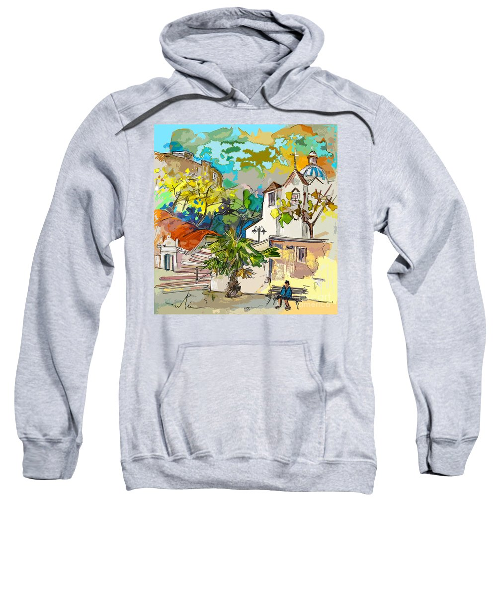 Castro Marim Portugal Algarve Painting Travel Sketch Sweatshirt featuring the painting Castro Marim Portugal 13 Bis by Miki De Goodaboom
