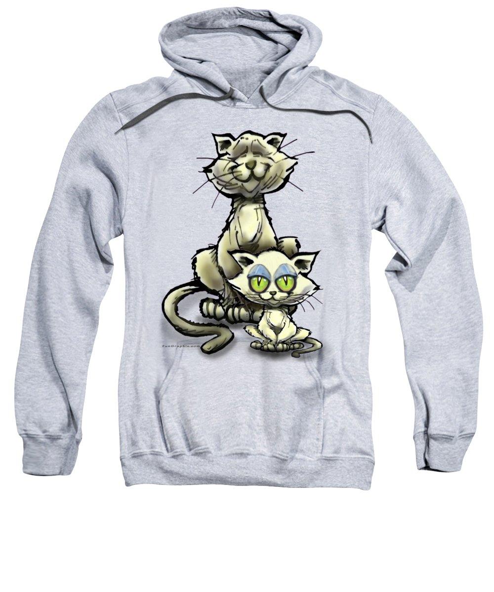 Cat Sweatshirt featuring the digital art Cat N Kitten by Kevin Middleton