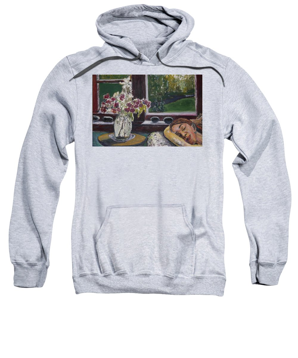 Nap Sweatshirt featuring the painting Cat Nap by Craig Newland