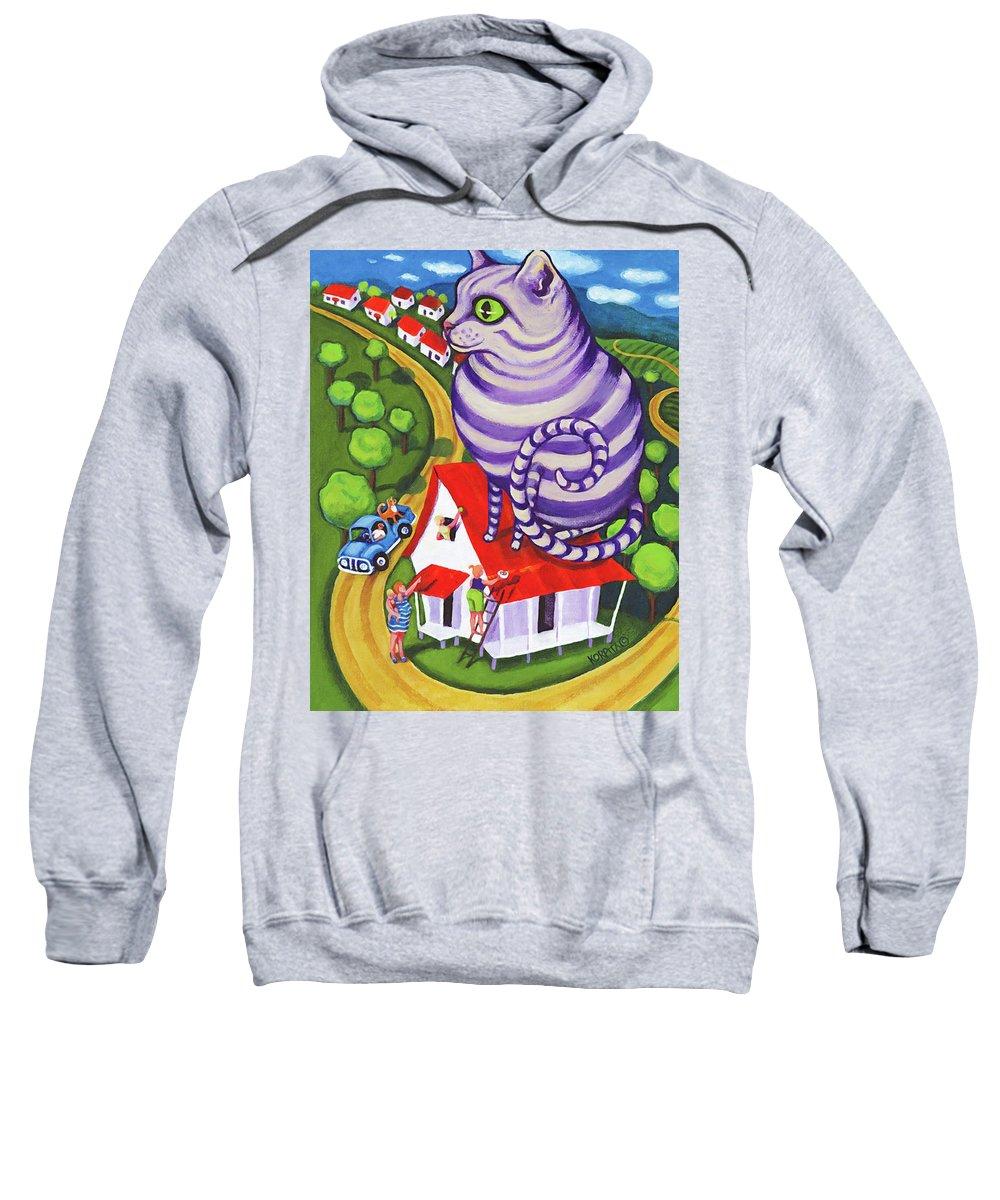 Rebecca Korpita Sweatshirt featuring the painting Cat On A Red Tin Roof by Rebecca Korpita