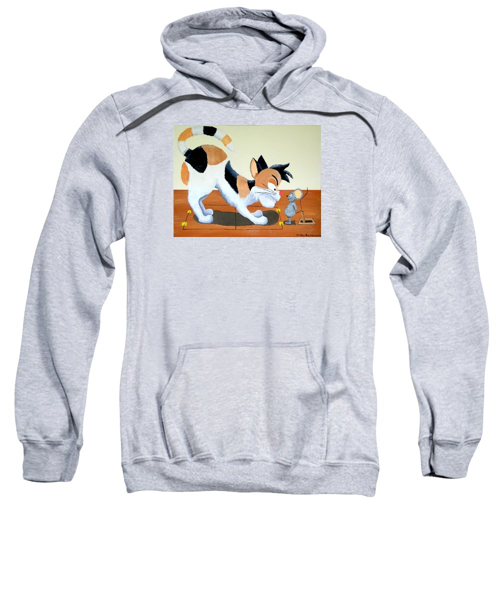 Cat Trap Sweatshirt featuring the painting Cat Trap by Winton Bochanowicz