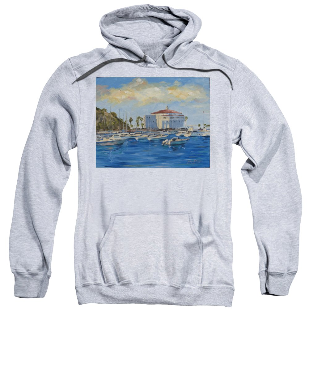 California Sweatshirt featuring the painting Catallina Casino by Jay Johnson
