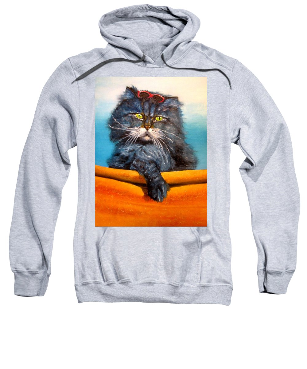 Cat Sweatshirt featuring the painting Cat.Go to swim.Original oil painting by Natalja Picugina