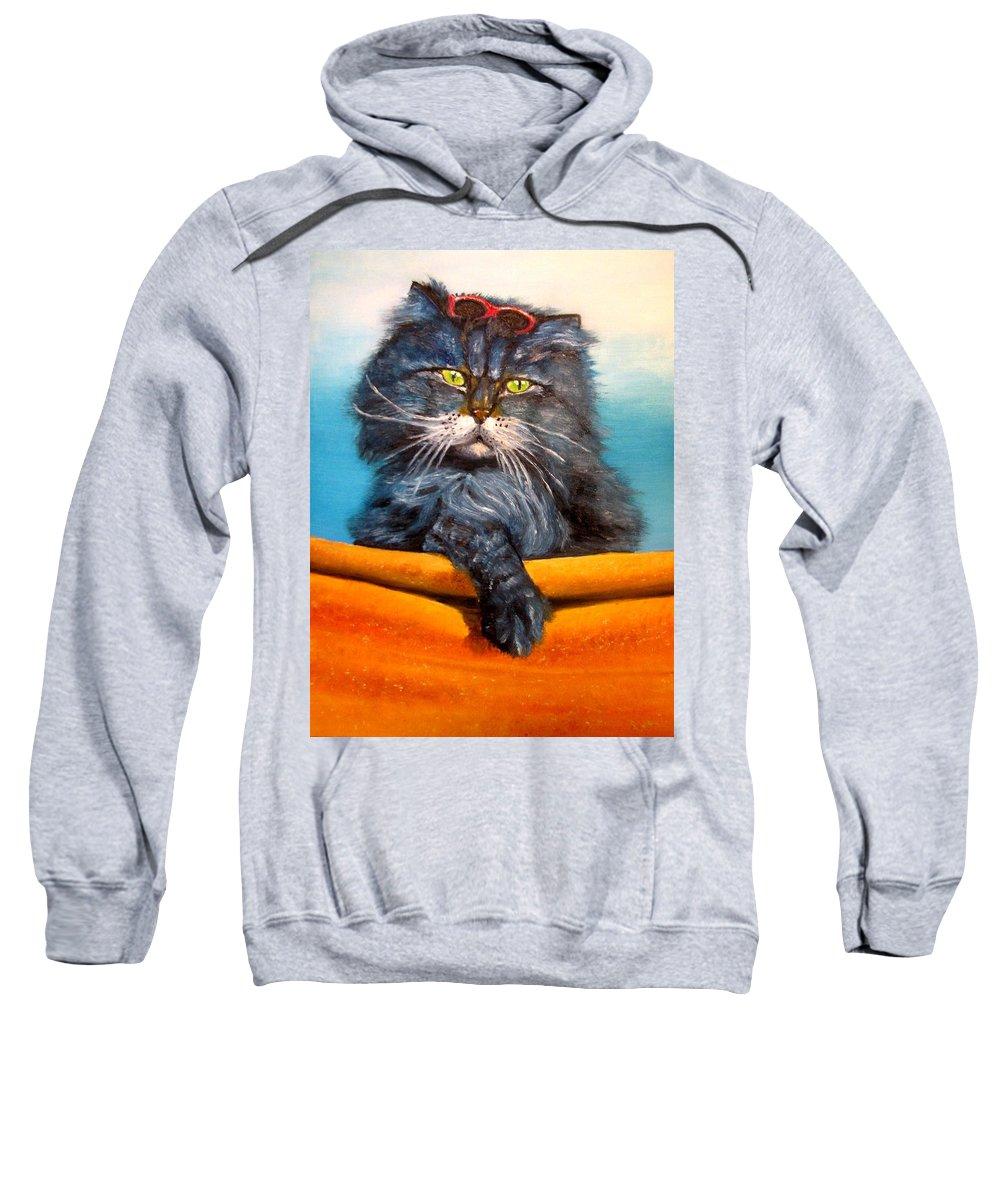 Cat Sweatshirt featuring the painting Cat.go To Swim.original Oil Painting by Natalja Picugina