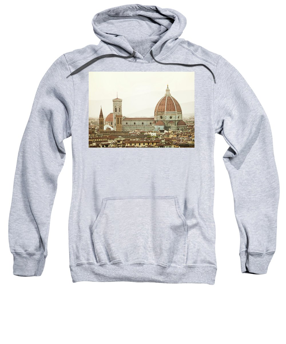 Tuscany Sweatshirt featuring the photograph Cathedral Santa Maria Del Fiore At Sunset, Florence. by Antonio Gravante