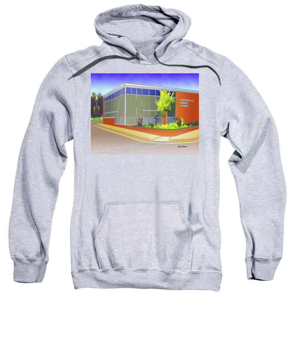 Catonsville Sweatshirt featuring the digital art Catonsville Middle School by Stephen Younts