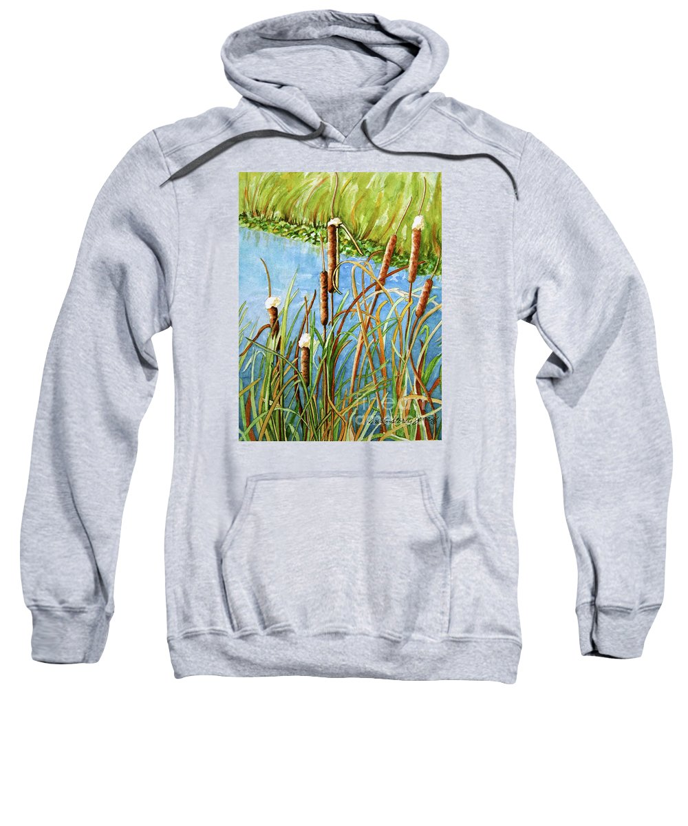 Cattails Watercolor Sweatshirt featuring the painting Cattails by Sally Storey Jones