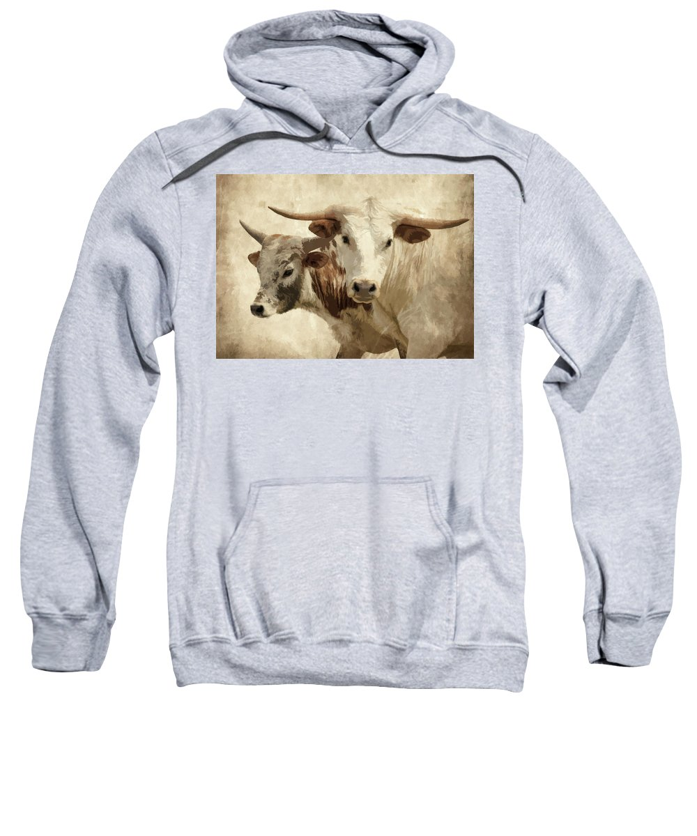 Cattle Sweatshirt featuring the photograph Cattle Steers by Athena Mckinzie