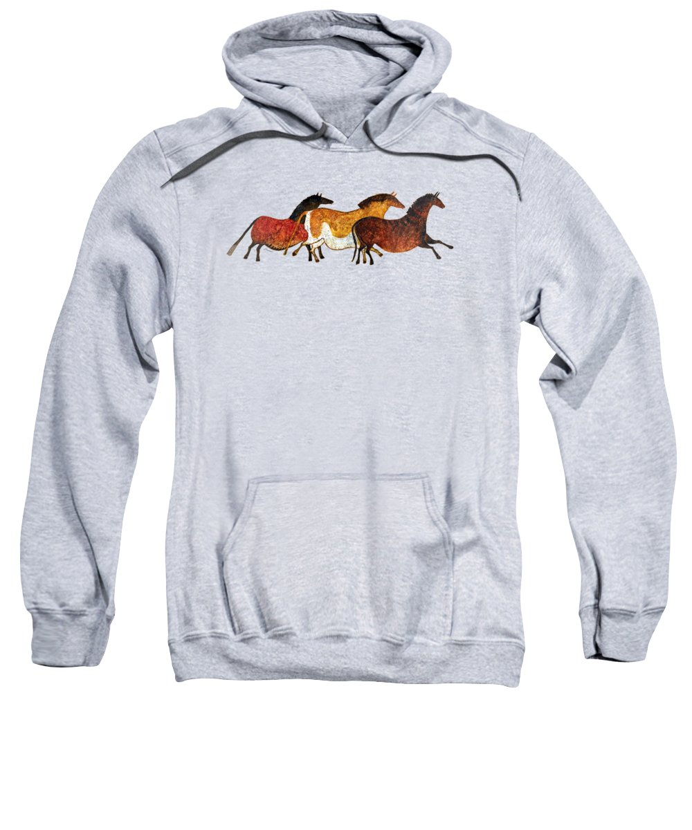 Cave Sweatshirt featuring the painting Cave Horses in Beige by Hailey E Herrera