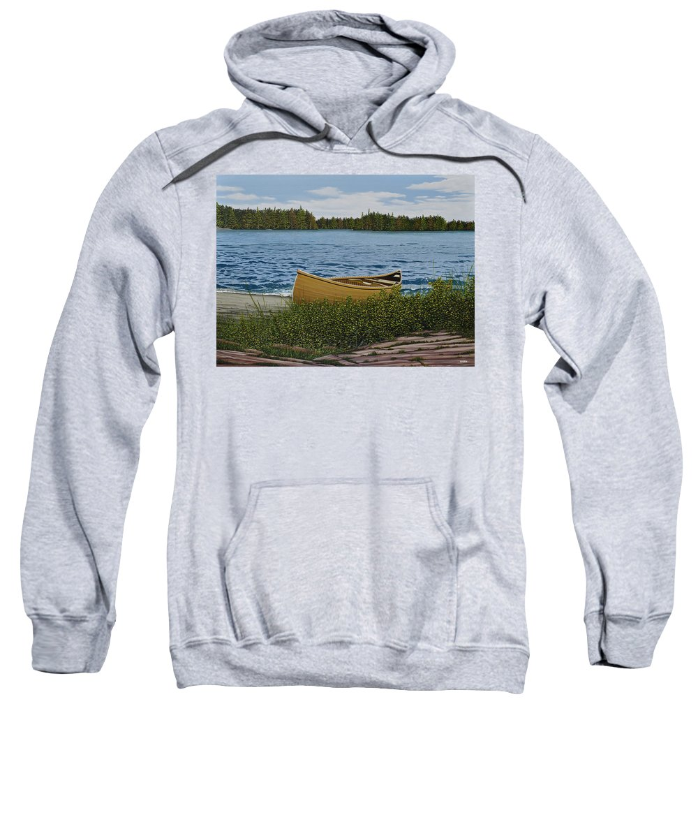 Landscapes Sweatshirt featuring the painting Cedar Canoe by Kenneth M Kirsch
