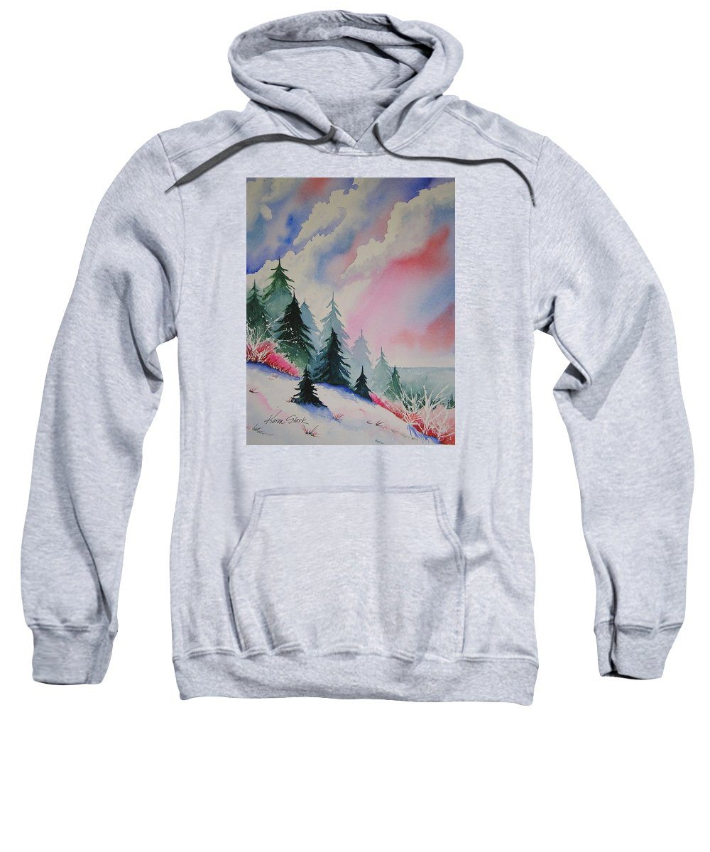 Snow Sweatshirt featuring the painting Cedar Fork Snow by Karen Stark