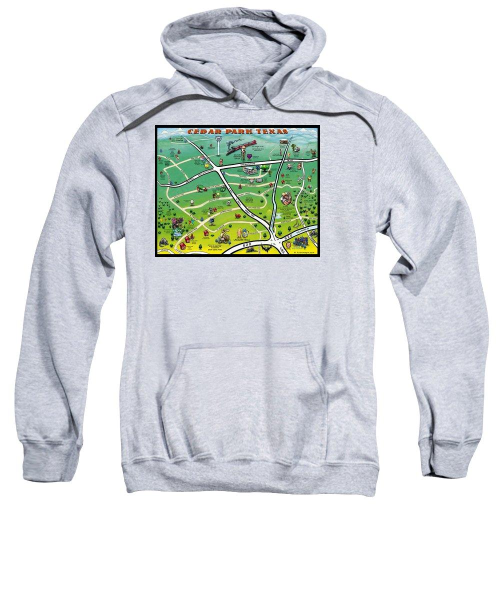 Cedar Park Sweatshirt featuring the digital art Cedar Park Texas Cartoon Map by Kevin Middleton