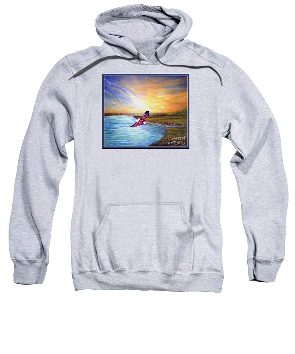 Bright Yellow Orange Sunrise With Blue Skies And Light Wispy Clouds Evergreen Tree Line In Background Turquoise And Cerulean Blue Calm Waters Koi Fish In The Waters Bald Eagle Soaring Or Flying Above Nature Scenes Bald Eagle Artwork Sweatshirt featuring the painting Celestial Eagle Flight by Kimberlee Baxter