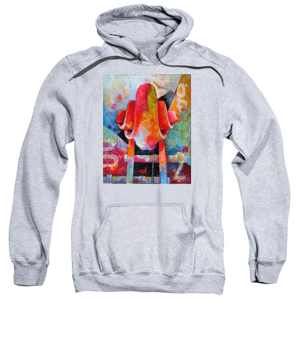Musical Artwork Sweatshirt featuring the painting Cello Head In Blue And Red by Susanne Clark