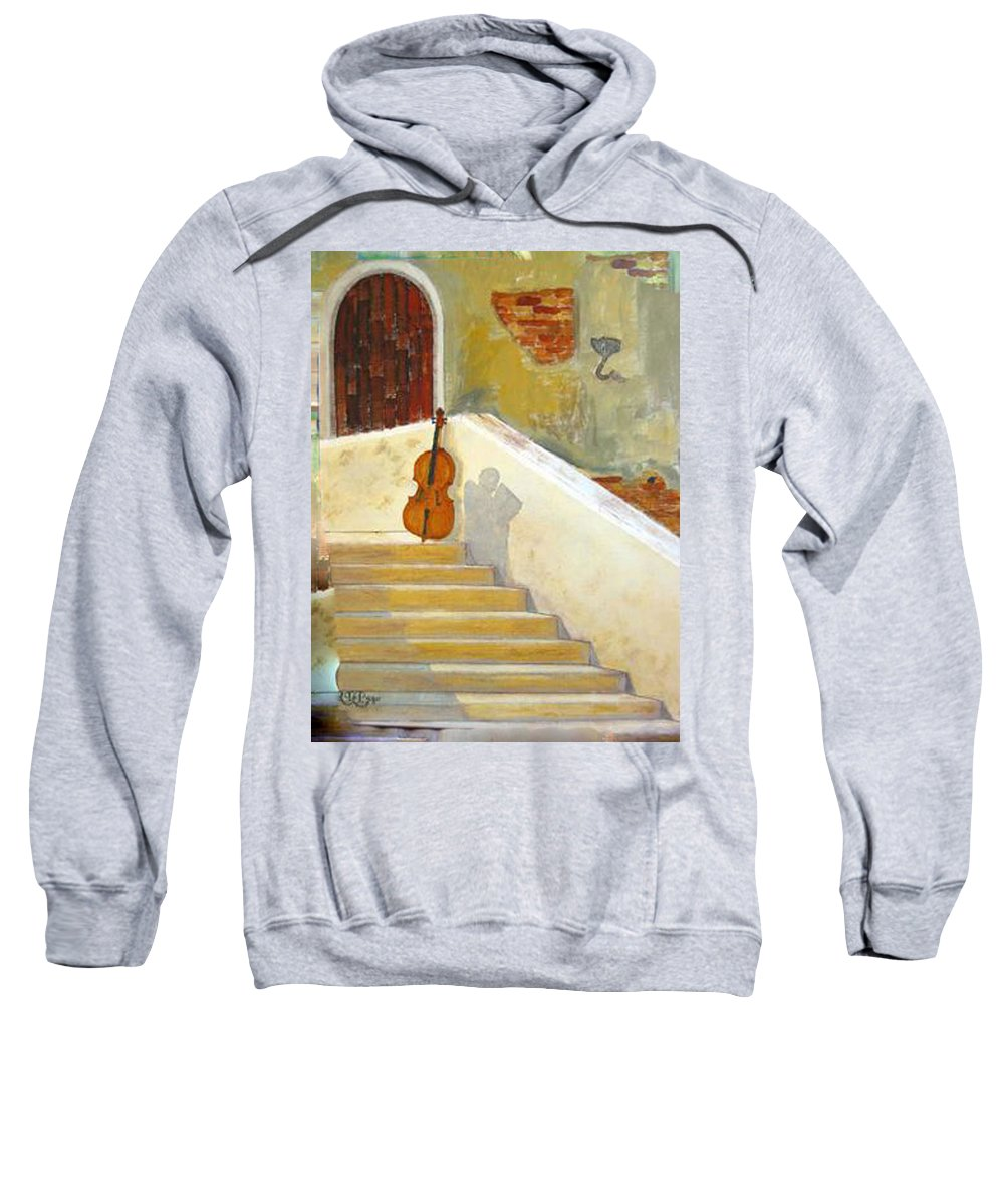 Cello Sweatshirt featuring the painting Cello No 3 by Richard Le Page