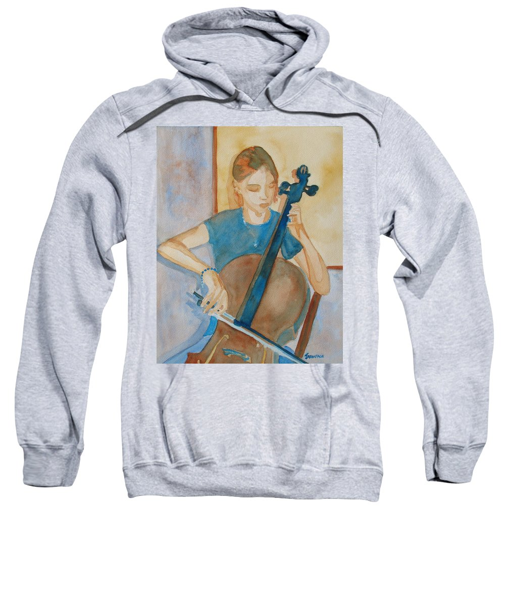 Girl Sweatshirt featuring the painting Cello Practice Iv by Jenny Armitage
