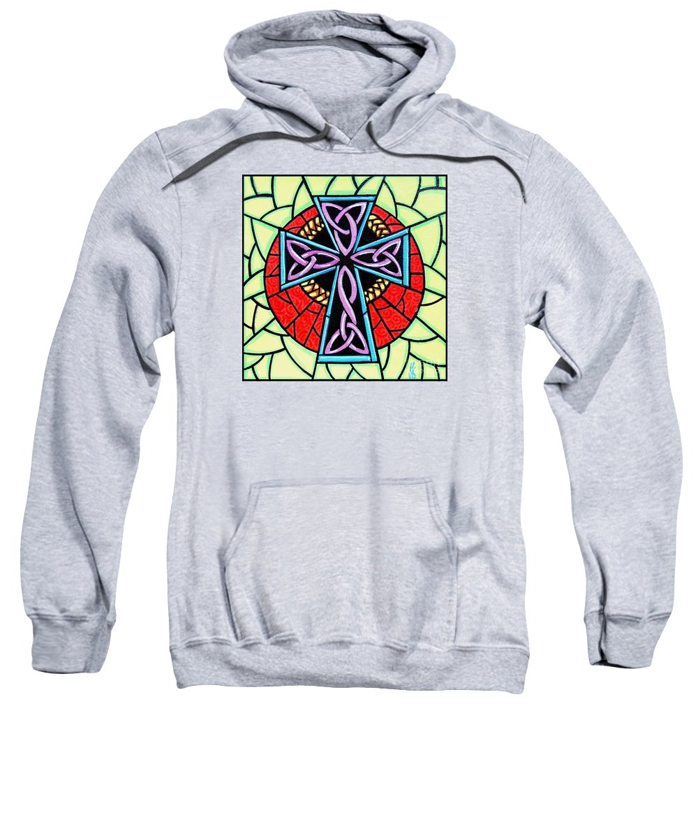 Celtic Sweatshirt featuring the painting Celtic Cross by Jim Harris
