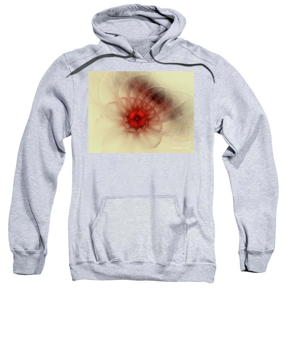 Digital Sweatshirt featuring the digital art Center Of Burning Red by Deborah Benoit