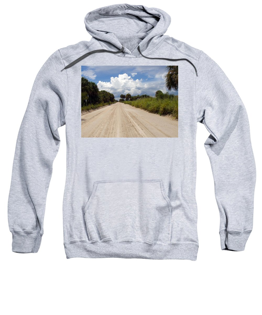 Florida; Road; Back; Backroad; Central; Dirt; Plow; Plowed; Clay; Mud; Muddy; Places; Unknown; Trave Sweatshirt featuring the photograph Central Florida Back Road by Allan Hughes