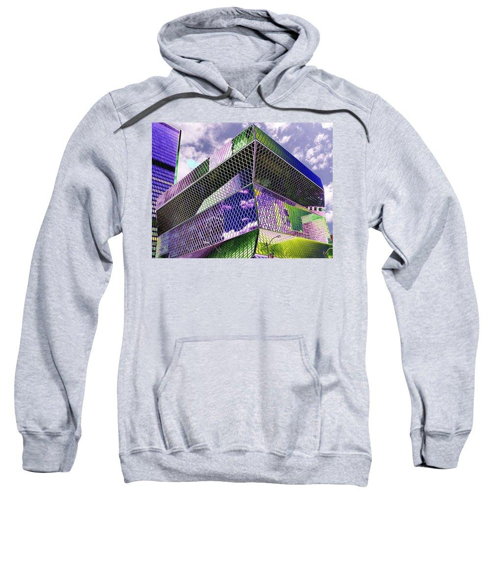 Seattle Sweatshirt featuring the digital art Central Library Seattle by Tim Allen