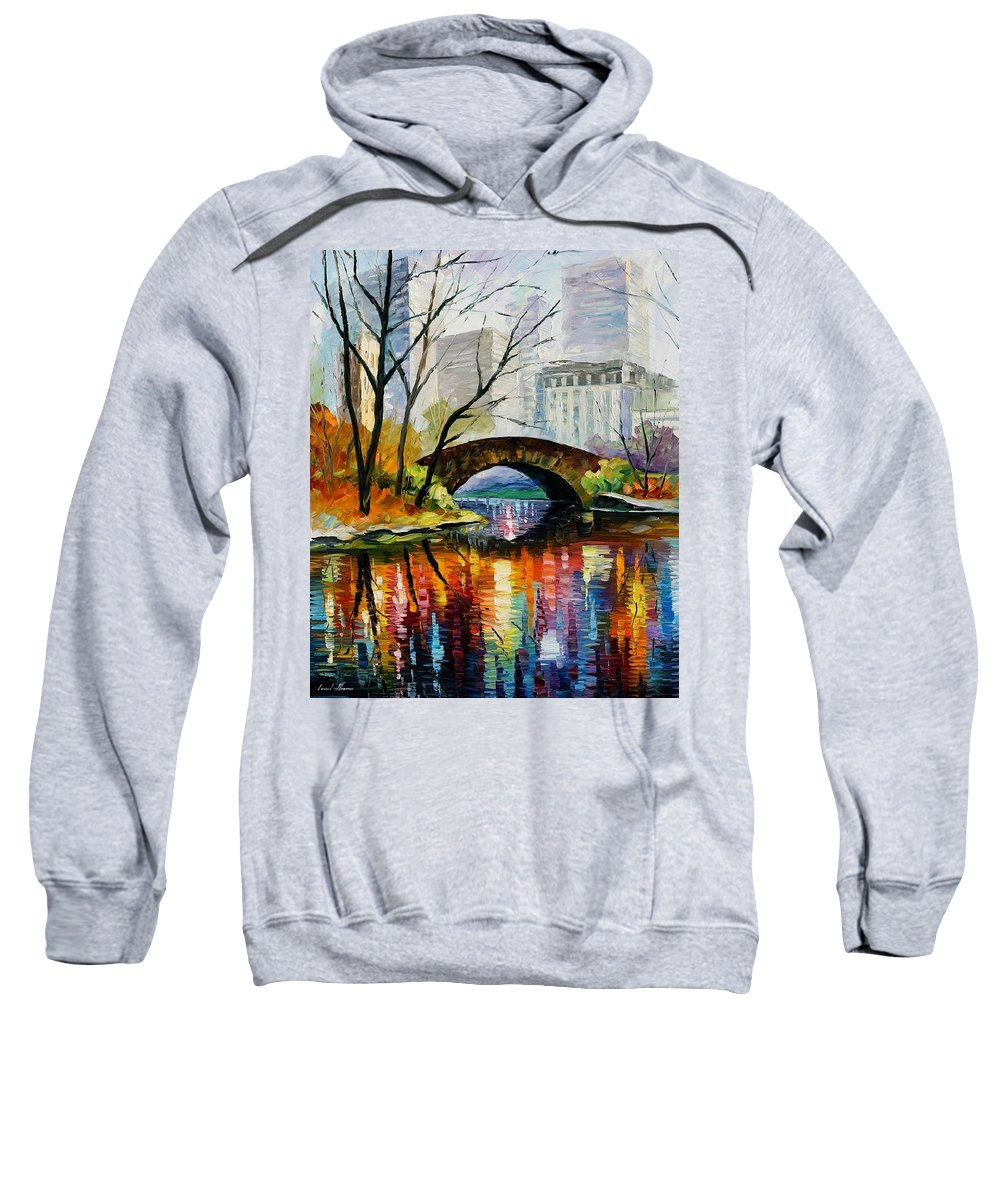 Landscape Sweatshirt featuring the painting Central Park by Leonid Afremov