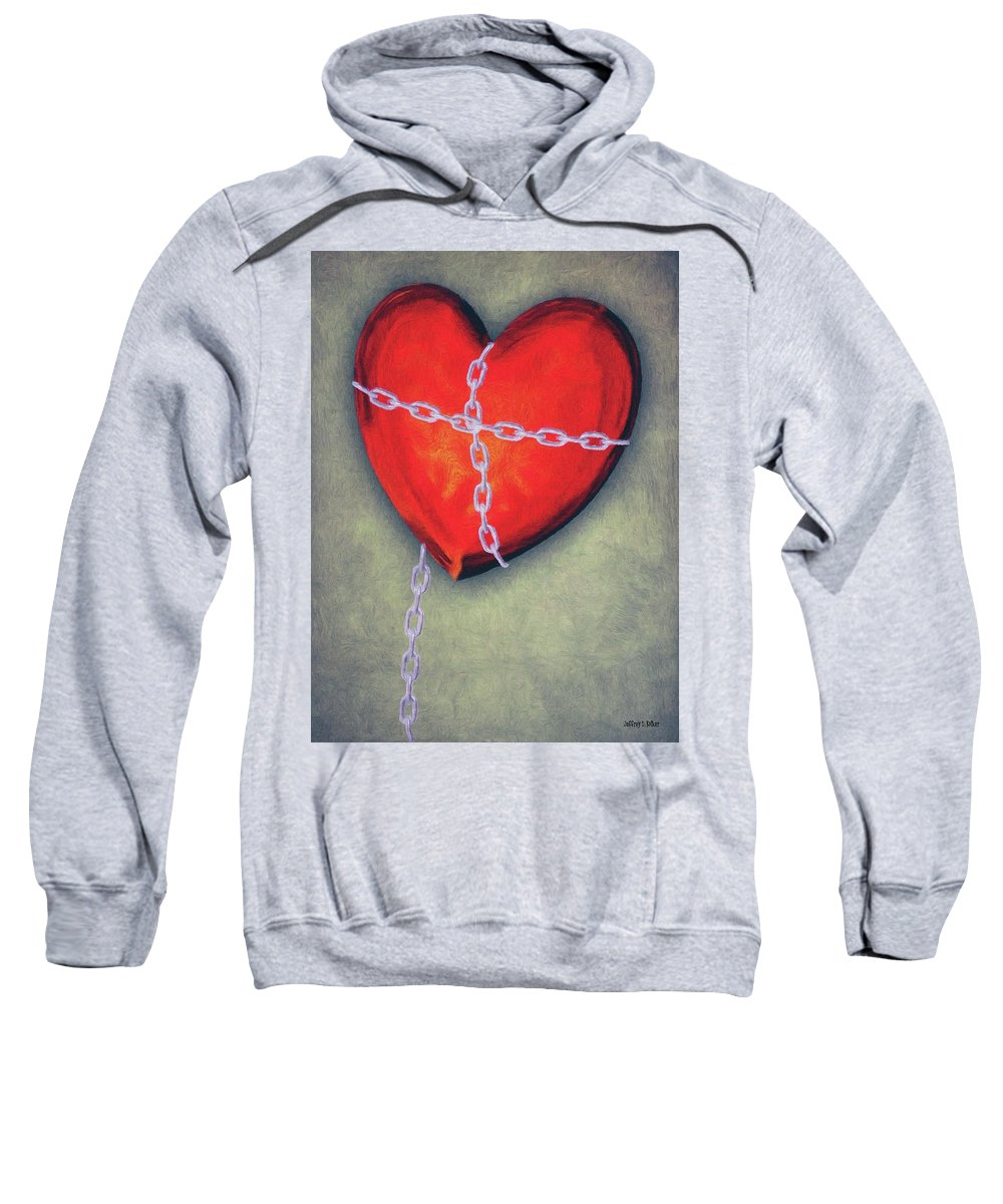 Heart Sweatshirt featuring the painting Chained Heart by Jeffrey Kolker
