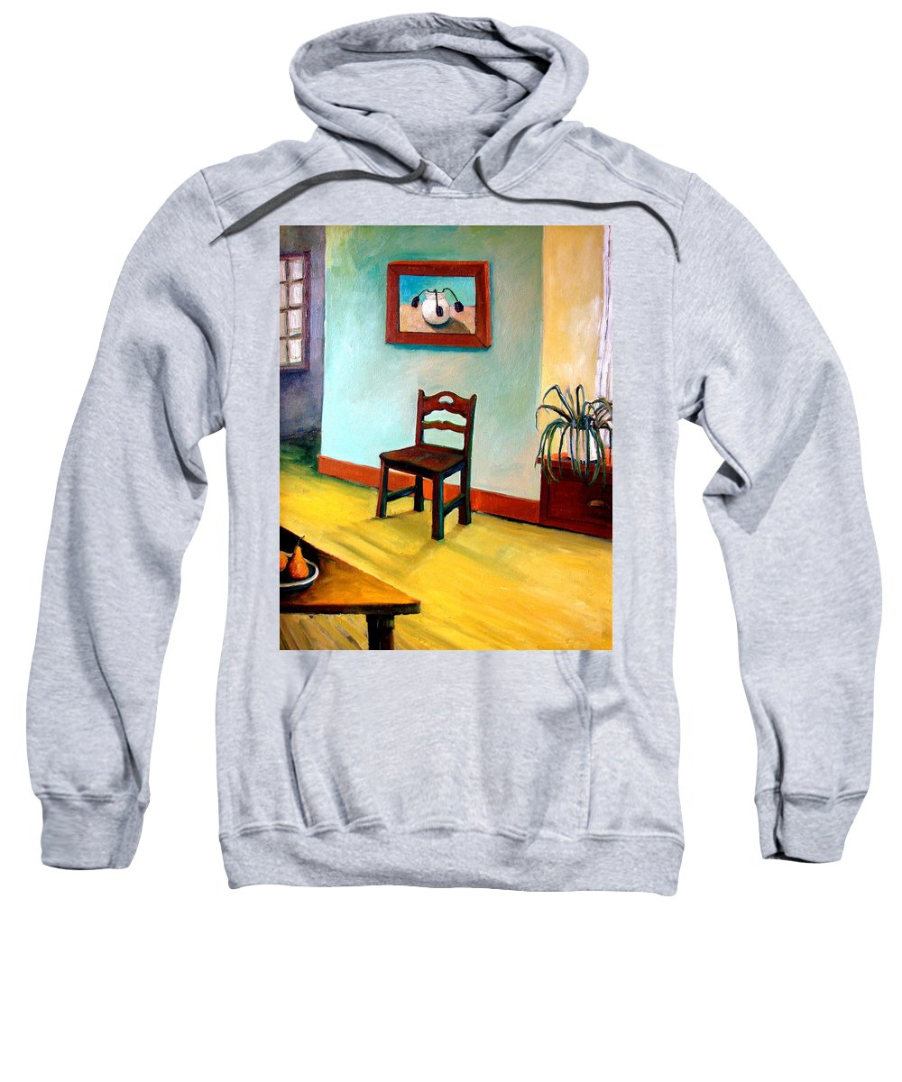 Apartment Sweatshirt featuring the painting Chair And Pears Interior by Michelle Calkins