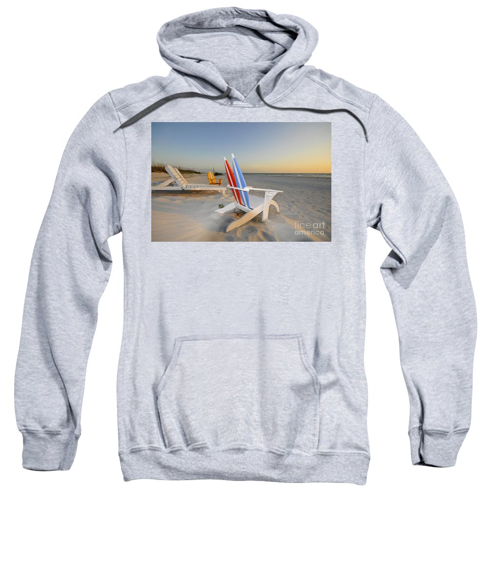 Beach Chairs Sweatshirt featuring the photograph Chairs On The Beach by David Lee Thompson