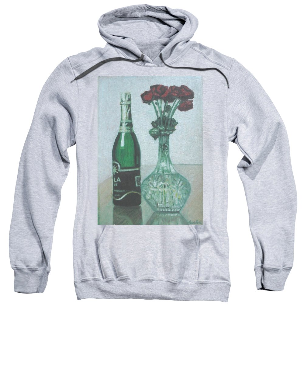 Champagne Sweatshirt featuring the painting Champagne And Roses by Usha Shantharam