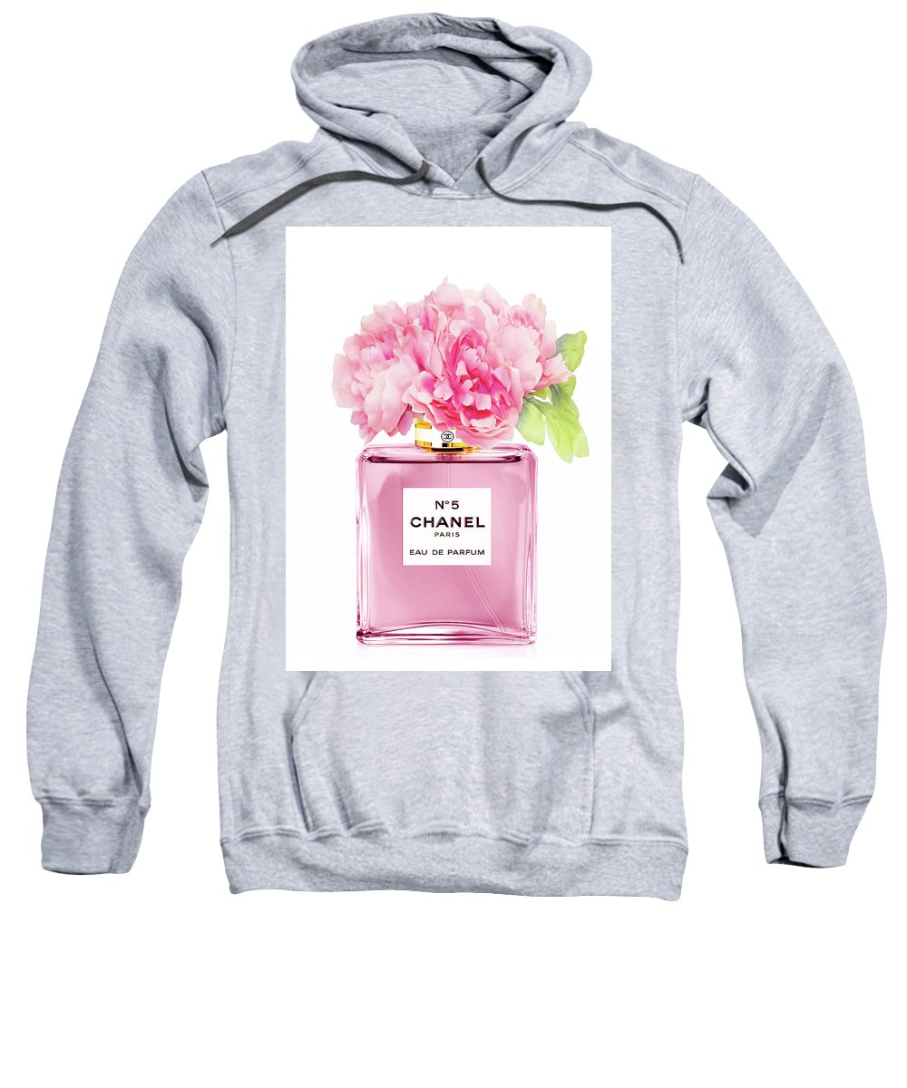 Chanel Sweatshirt featuring the mixed media Chanel N5 Pink With Flowers by Green Palace