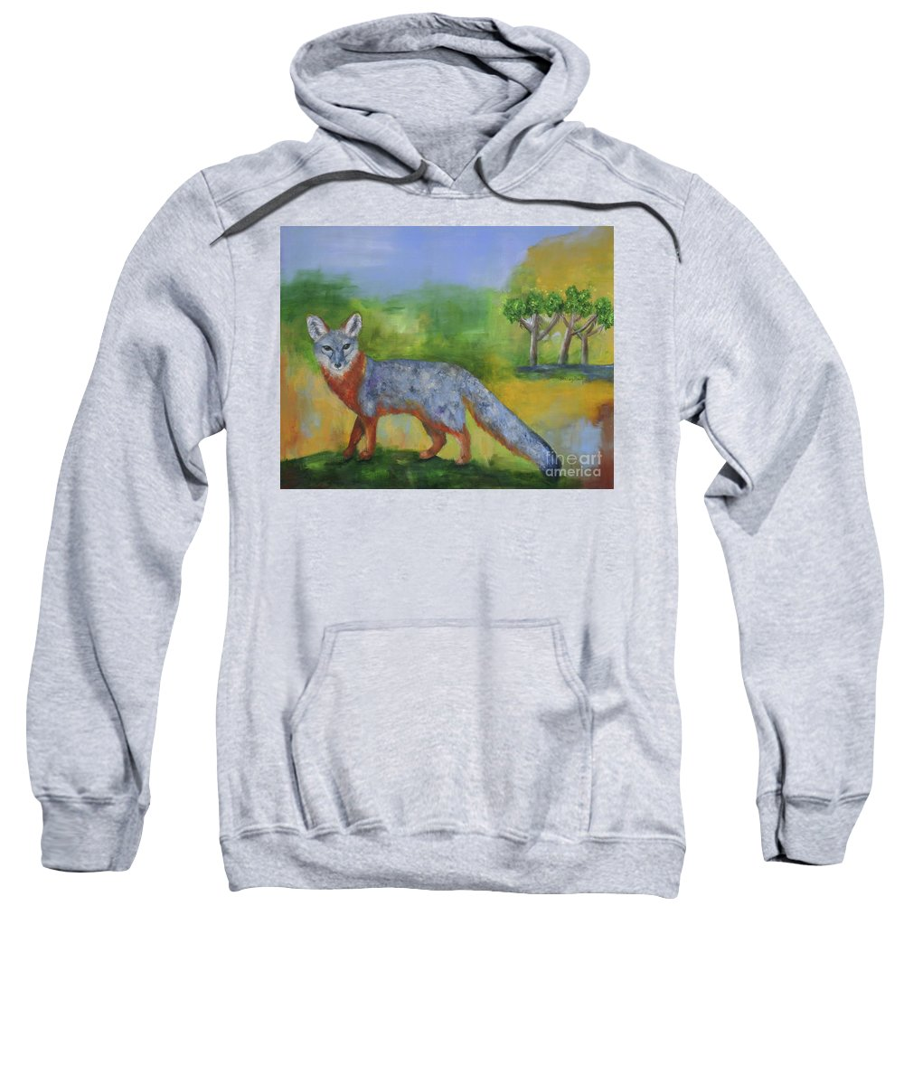 Island Fox Sweatshirt featuring the painting Channel Islands' Island Fox by Stacey Best