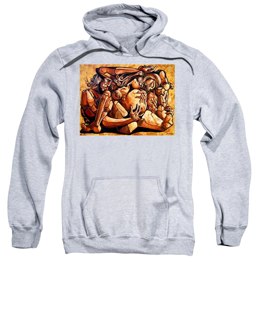 Surrealism Sweatshirt featuring the painting Chaos After The News by Darwin Leon