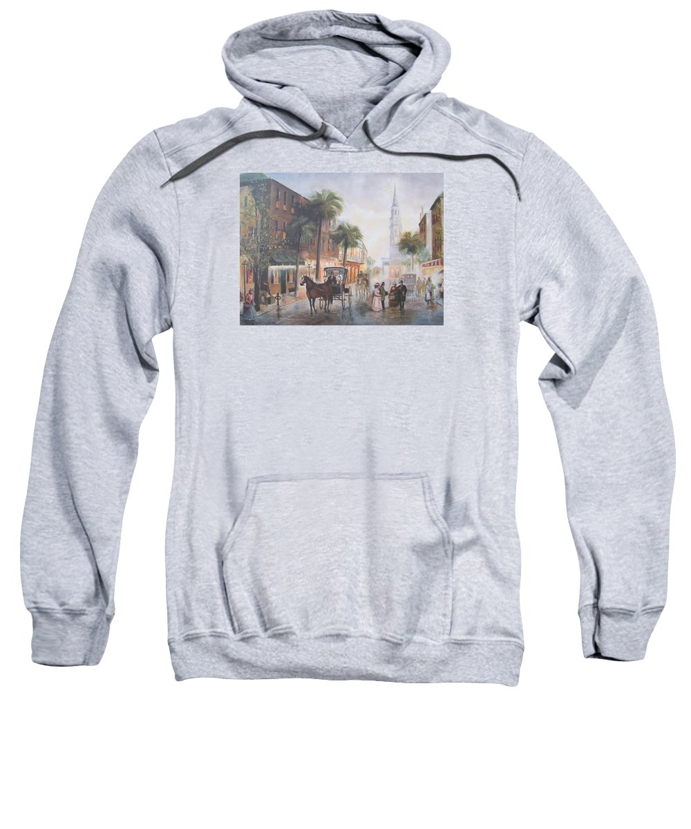 Charleston Sweatshirt featuring the painting Charleston Somewhere In Time by Charles Roy Smith
