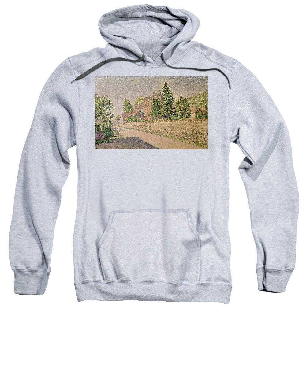 Chateau De Comblat Sweatshirt featuring the painting Chateau De Comblat by Paul Signac