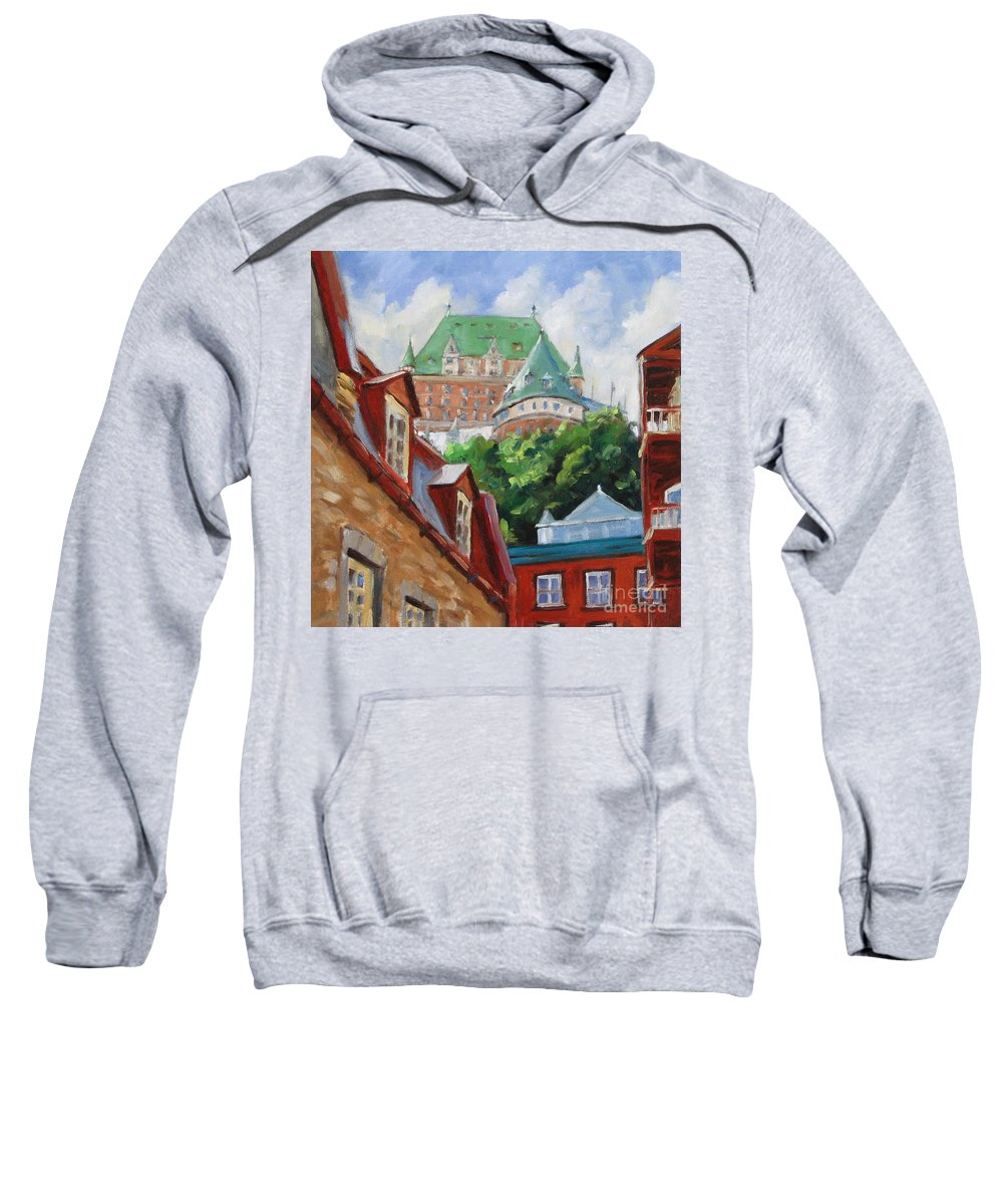 Chateau Frontenac Sweatshirt featuring the painting Chateau Frontenac by Richard T Pranke