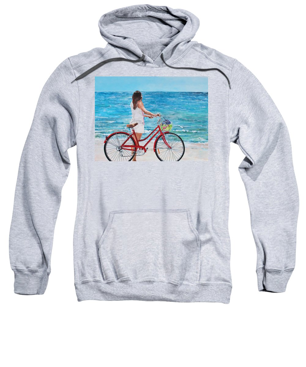 Beach Sweatshirt featuring the painting Checking The Surf by Wayne Edwards