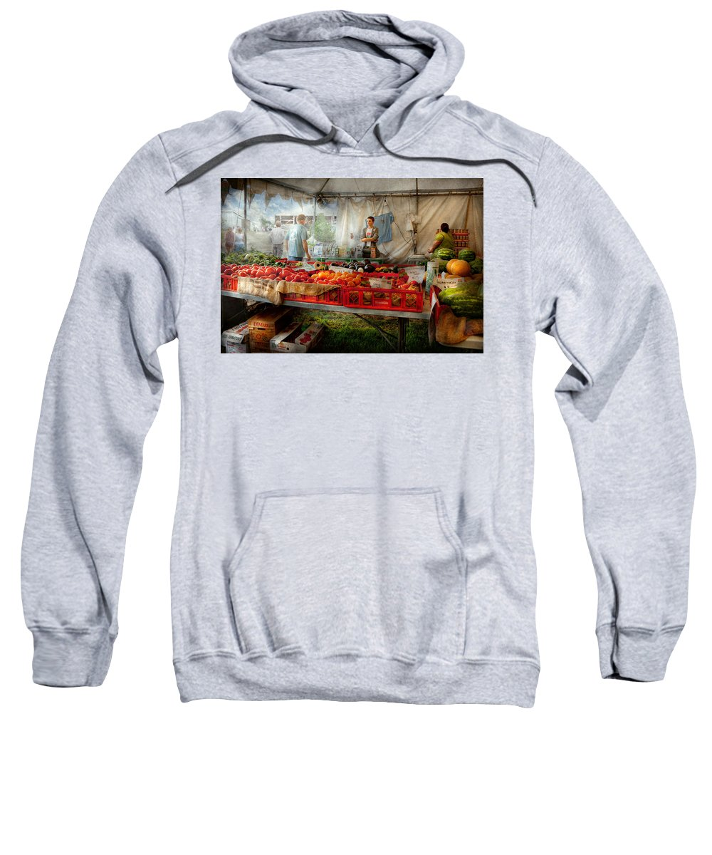 Chef Sweatshirt featuring the photograph Chef - Vegetable - Jersey Fresh Farmers Market by Mike Savad