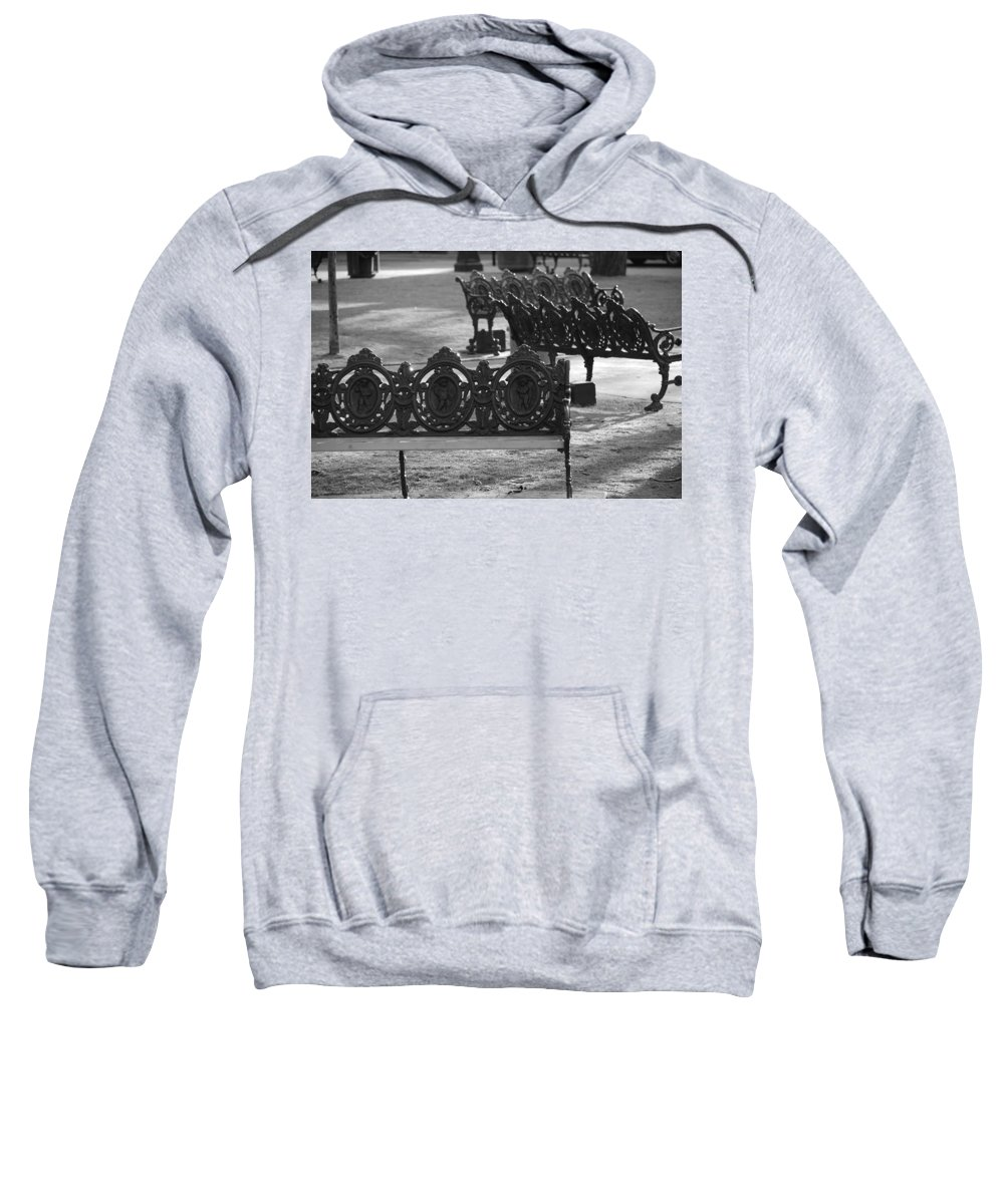 Black And White Sweatshirt featuring the photograph Cherb Benches by Rob Hans