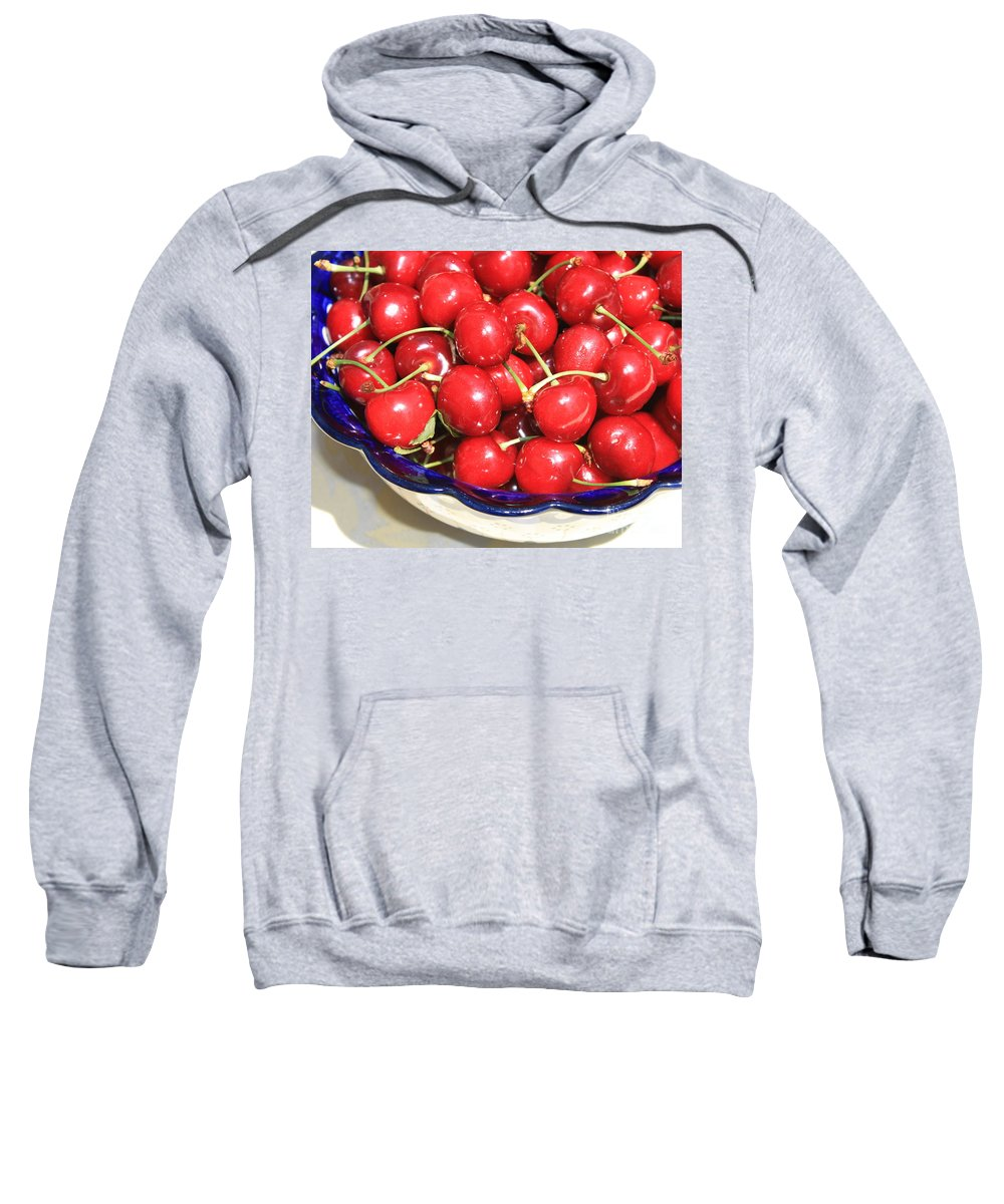 Food Sweatshirt featuring the photograph Cherries In A Bowl Close-up by Carol Groenen