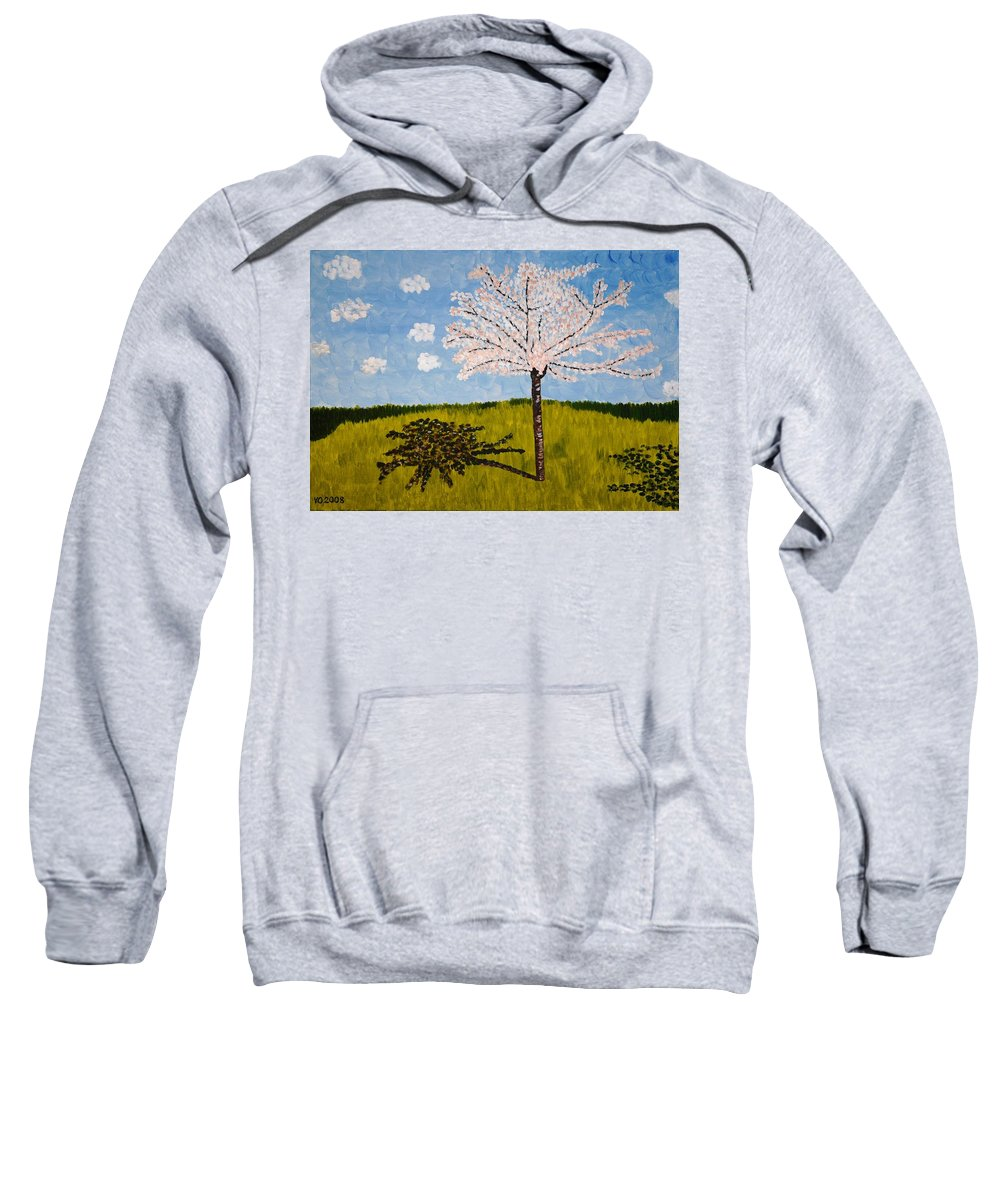 Cherry Sweatshirt featuring the painting Cherry Blossom Tree by Valerie Ornstein