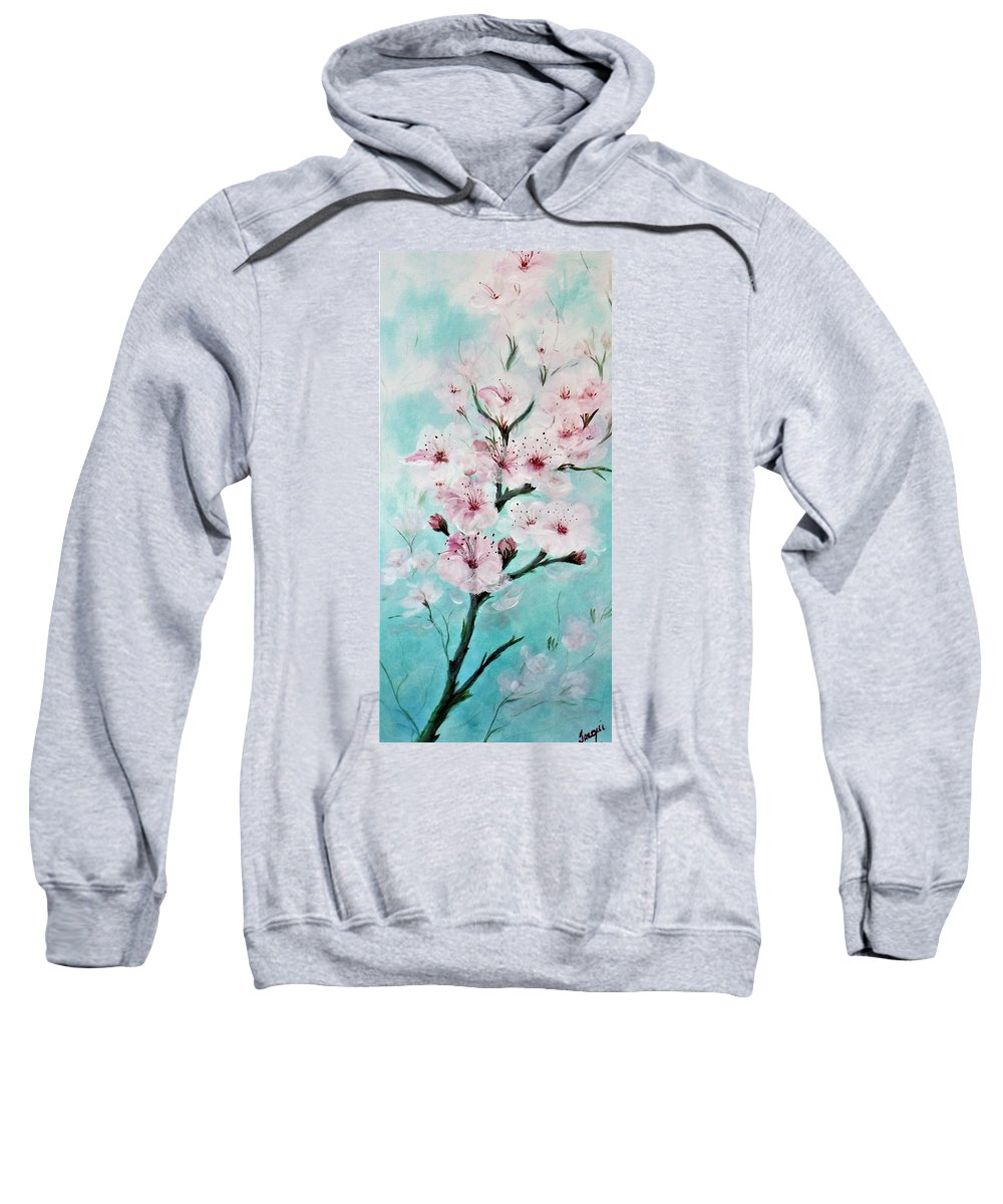 Flowers Sweatshirt featuring the painting Cherry Blossoms by Jacqueline Whitcomb